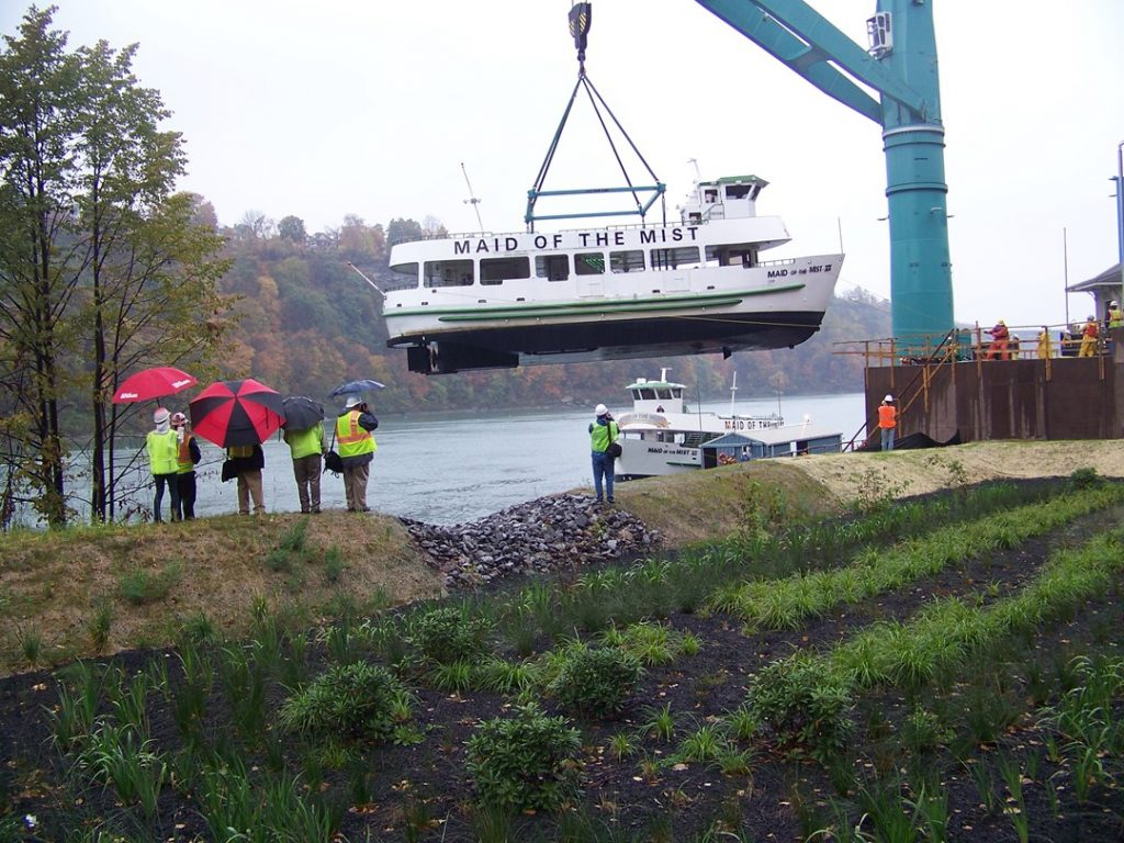 The Maid of the Mist VII is lifted out of the Niagara River onto the new drydock facility in Niagara Falls, N.Y..